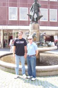 Matt and Allen with Statue of Children and Geese