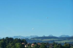 Interesting Photo of Hot Air Balloon and Jet Passing Each Other From Our Hotel Window In Bern
