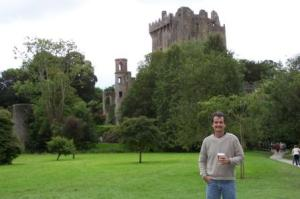 Matt with Cappuccino in Front of Blarney Castle