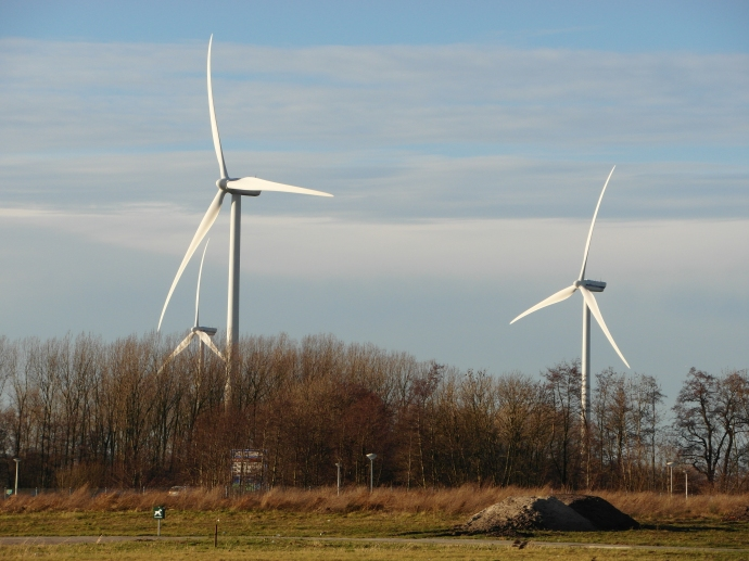 Modern Dutch windmills up close and personal
