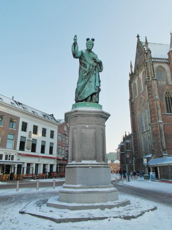 Statue of Laurens Jansz Koster in the Grote Markt, Haarlem, Netherlands
