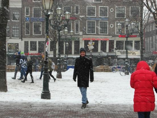 Matt in Amsterdam City Center in the snow!!!