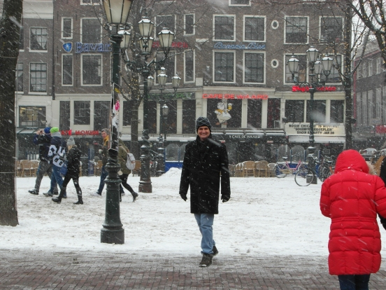 Matt in Amsterdam City Center in the snow!!!