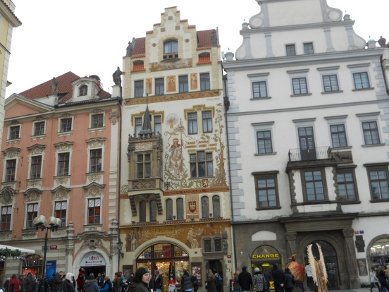 Some of the beautiful buildings in Old Town Square, Prague