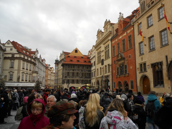 Pre-Christmas crowds in Old Town Square, Prague