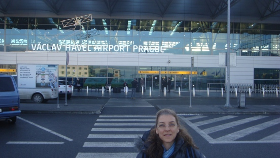 Arriving at the airport in Prague.